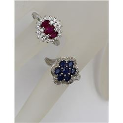 TWO BEAUTIFUL STERLING SILVER CLUSTER RINGS