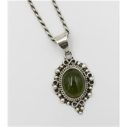 MEXICO .925 NECKLACE WITH LARGE GREEN STONE