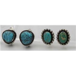 (2) PAIRS OF STERLING SILVER AND TURQUOISE EARRINGS