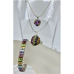 GORGEOUS STERLING SILVER AND MULTI-COLORED RHINESTONE SET