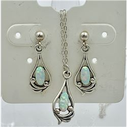 STERLING SILVER AND OPAL NECKLACE AND EARRING SET