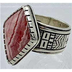 NAVAJO ZUNI AMERICAN INDIAN PINK AGATE STERLING SILVER RING