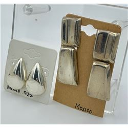 2 PAIRS OF MEXICO SILVER EARRINGS