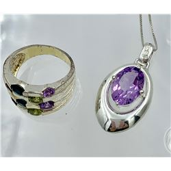 STERLING SILVER RING AND PENDANT SET