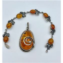 BALTIC AMBER AND STERLING SILVER PENDANT AND BRACELET