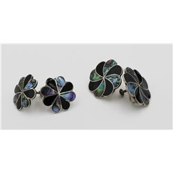 2 PAIRS OF MEXICO .925 SILVER AND ABALONE SHELL TWIST-BACK EARRINGS