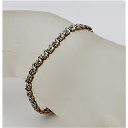 GOLD-TONE STERLING SILVER DIAMOND BRACELET