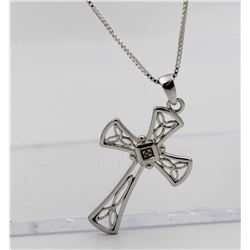 BEAUTIFUL STERLING SILVER CROSS NECKLACE WITH DIAMOND IN THE CENTER
