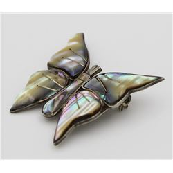 """VINTAGE """"SJB"""" MEXICO STERLING & ABALONE BUYTTERFLY PIN"""