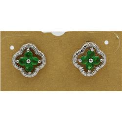 DIAMOND AND EMERALD COLORED STONES STERLING SILVER EARRINGS FOR PIERCED EARS