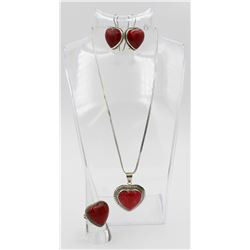 STERLING SILVER WITH RED STONES FOUR PIECE SET