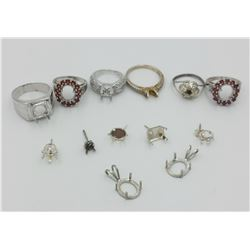 LOT OF MISC. STERLING SILVER MOUNTS.
