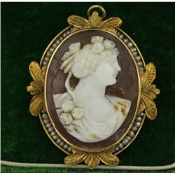 10K CAMEO WITH SEED PEARLS PIN/PENDANT