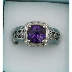 BEAUTIFUL TACORI AMEYTHST AND STERLING SILVER RING WITH CZ'S.