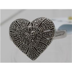 AFFINITY STERLING AND DIAMOND HEART RING SIZE 9.5