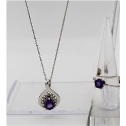 STERLING SILVER AND AMETHYST NECKLACE AND RING SET