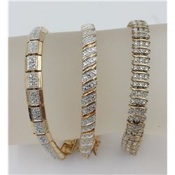 (3) GOLD TONED STERLING SILVER BRACELETS WITH CLASP CLOSURES