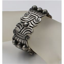 VERY RARE CIRCA 1940'S HECTOR AGUILAR STERLING SILVER CUFF BRACELET