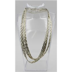 (4) BRAIDED STERLING SILVER CHAINS