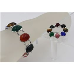 MULTI-COLORED STONE STERLING SILVER BRACELET AND PIN SET.