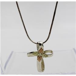 BEAUTIFUL STERLING SILVER AND 12K GOLD CROSS PENDANT