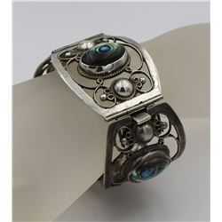 FOUR PANEL STERLING SILVER CUFF BRACELET WITH ABALONE SHELL