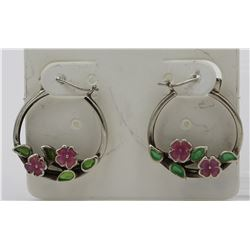 STERLING SILVER 7/8 INCH HOOP HEARRINGS WITH ENAMEL PINK FLOWERS AND GREEN LEAVE