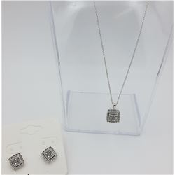 DIAMOND AND STERLING SILVER NECKLACE AND EARRINGS SET.