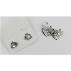 "TRU KAY ""TK"" STAMPED HEART SHAPED EARRINGS AND PIN SET"