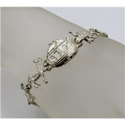 NOAH'S ARK 8 ANIMAL STERLING SILVER BRACELET