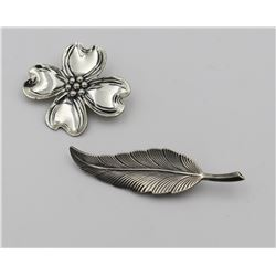 (2) BEAU STERLING SILVER PINS