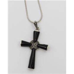 ONYX STERLING SILVER MARCASITE CROSS PENDANT NECKLACE