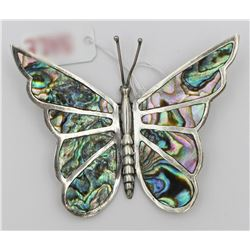 MEXICO SILVER TAXCO 8 PANEL ABALONE BUTTERFLY PIN