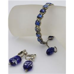 GORGEOUS STERLING SILVER BRACELET AND EARRING SET WITH BLUE STONES