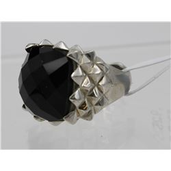 LARGE ONYX STERLING SILVER RING
