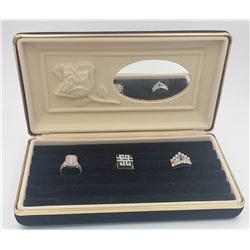 VELVET JEWELRY BOX WITH THREE STERLING SILVER RINGS