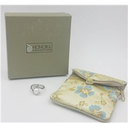 HONORA COLLECTION STERLING SILVER WITH WHITE CULTURED PEARL RING WITH POUCH