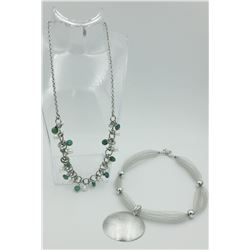 SIMONA COLLINI STAINLESS STEEL NECKLACE AND MILOR ITALY STERLING SILVER NECKLACE