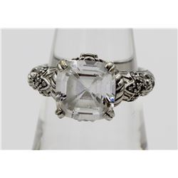 JUDITH RIPKA STERLING SILVER RING WITH CZ'S.