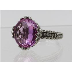 JUDITH RIPKA STERLING SILVER RING WITH CZ'S AND PINK STONE