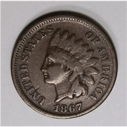 1867 INDIAN CENT FINE, KEY COIN!