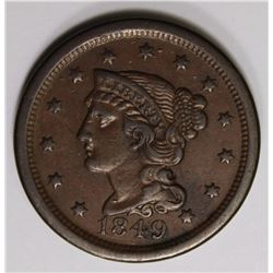 1849 LARGE CENT BEAUTIFUL COLOR XF/AU