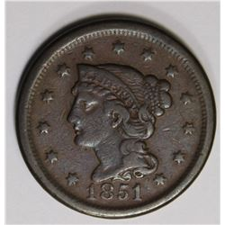 1851/81 LARGE CENT BEAUTIFUL COLOR VF/XF
