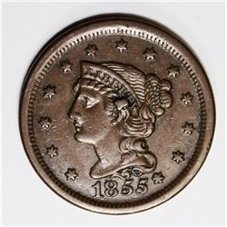 1855 LARGE CENT KNOB ON EAR CH AU+