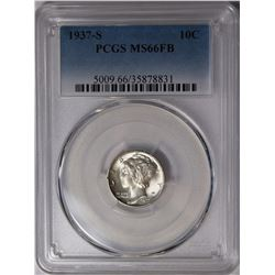 1937-S MERCURY DIME PCGS MS 66 FB WHITE, RARE!