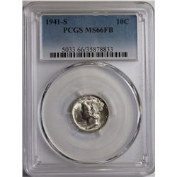 1941-S MERCURY DIME PCGS MS 66 FB WHITE BLAZER