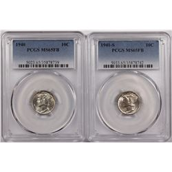 PCGS GRADED MERCURY DIMES MS65 FB WHITE: 1941-S & 1940
