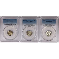 PCGS MS65 GEM MERCURY DIMES: 1943, 1940-D AND 1939