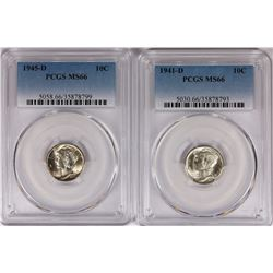 PCGS GRADED MS 66 MERCURY DIMES: 1941-D & 1945-D WHITE
