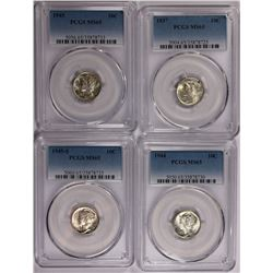 PCGS GRADED MS65 GEM MERCURY DIMES: 1937, 1945, 1945-S AND 1944